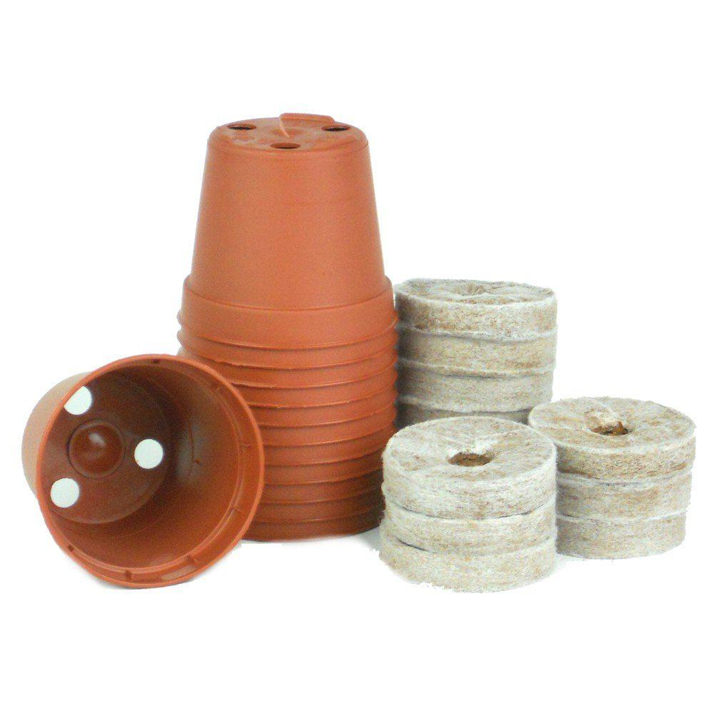 2 in. Plastic Pot Terra Cotta Seed Starter Kit (12 Pack)