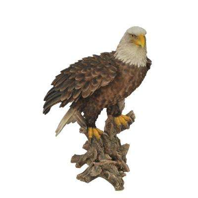 Bald Eagle on Stump with Wings Out Statue