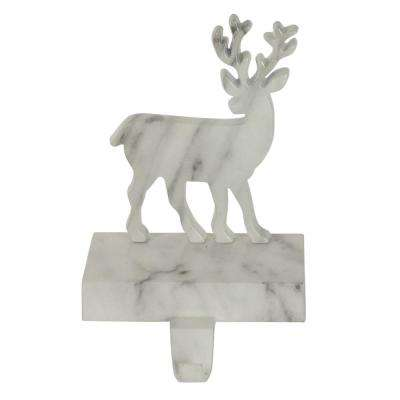 7.5 in. Black and White Marbled Deer Christmas Stocking Holder