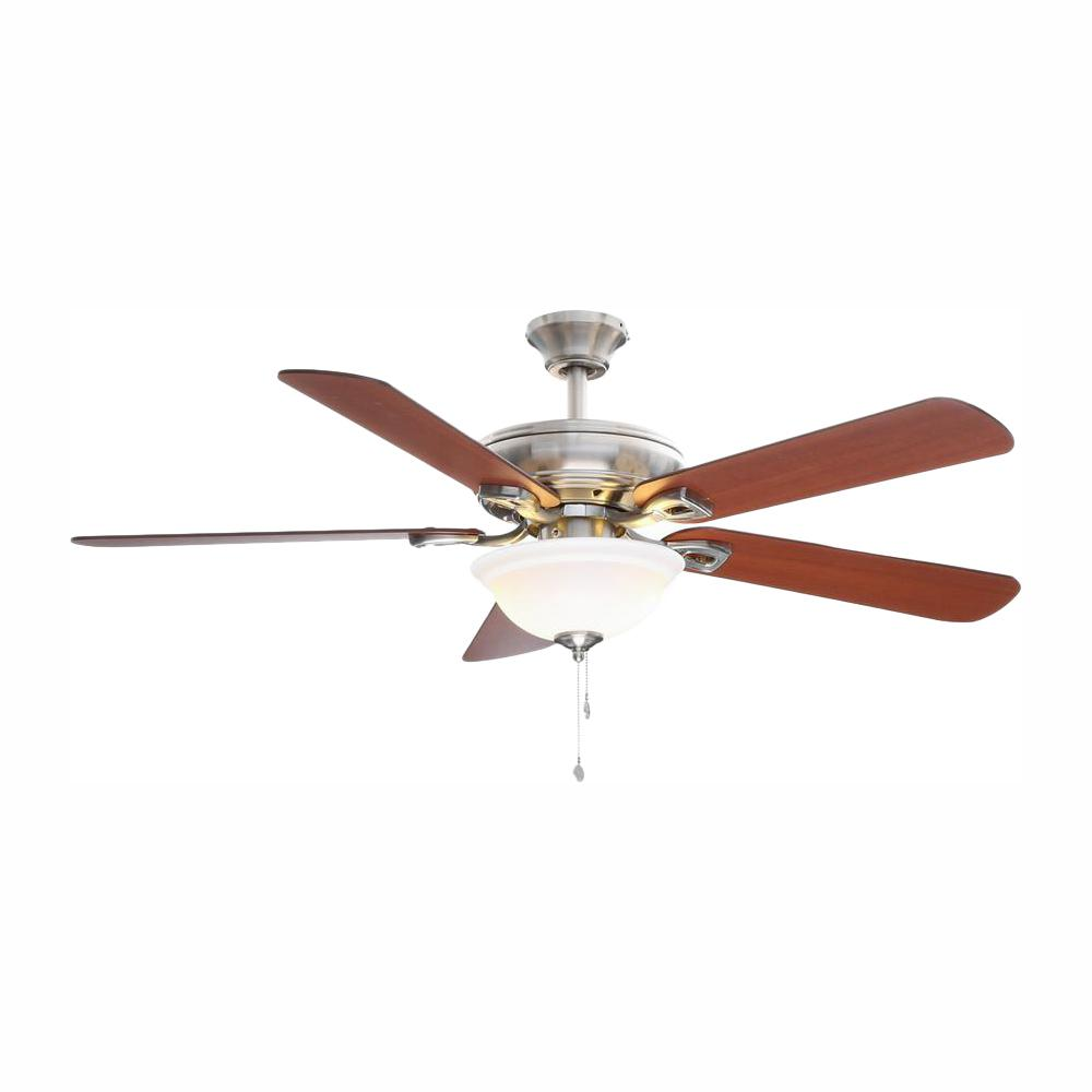 Hampton Bay Rothley 52 In Led Brushed Nickel Ceiling Fan With Light Kit