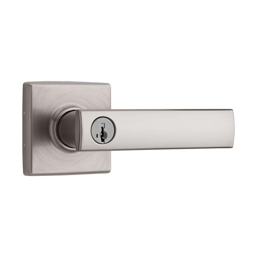 Vedani Square Satin Nickel Entry Door Lever Featuring SmartKey Security