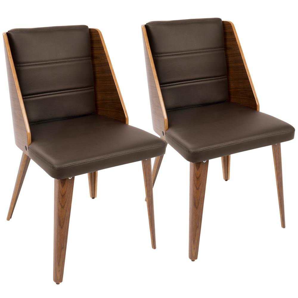 Leahlyn Reddish Brown Arm Chair Set Of 2: Lumisource Galanti Walnut And Brown Accent Chair (Set Of 2