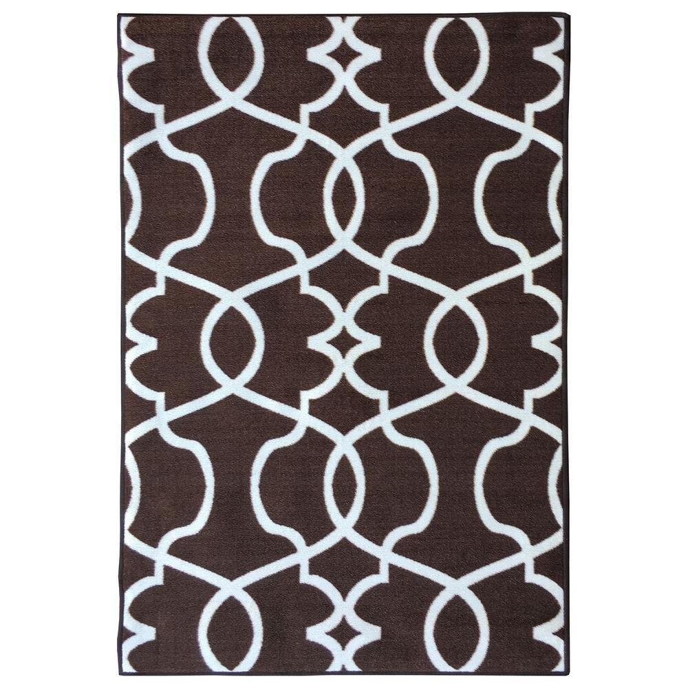 Rose Collection Contemporary Geometric Trellis Design Brown 5 ft. x 6