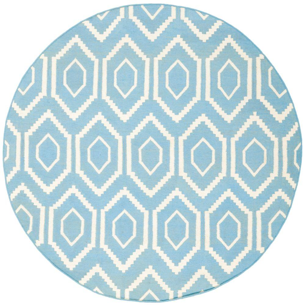 Dhurries Blue/Ivory 6 ft. x 6 ft. Round Area Rug