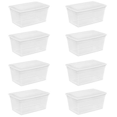 90-Quart Storage Box with Clear Base and White Lid (8 Pack) 16668004
