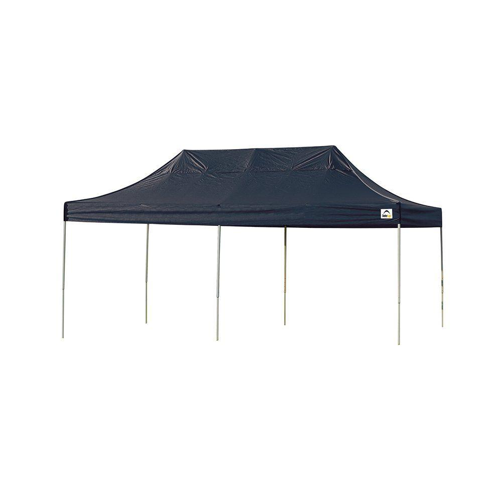 best authentic b8b65 fda84 ShelterLogic 10 ft. W x 20 ft. D Straight-Leg Pop-Up Canopy w/ Black Cover,  Black Roller Bag, and 4-Position-Adjustable Steel Frame