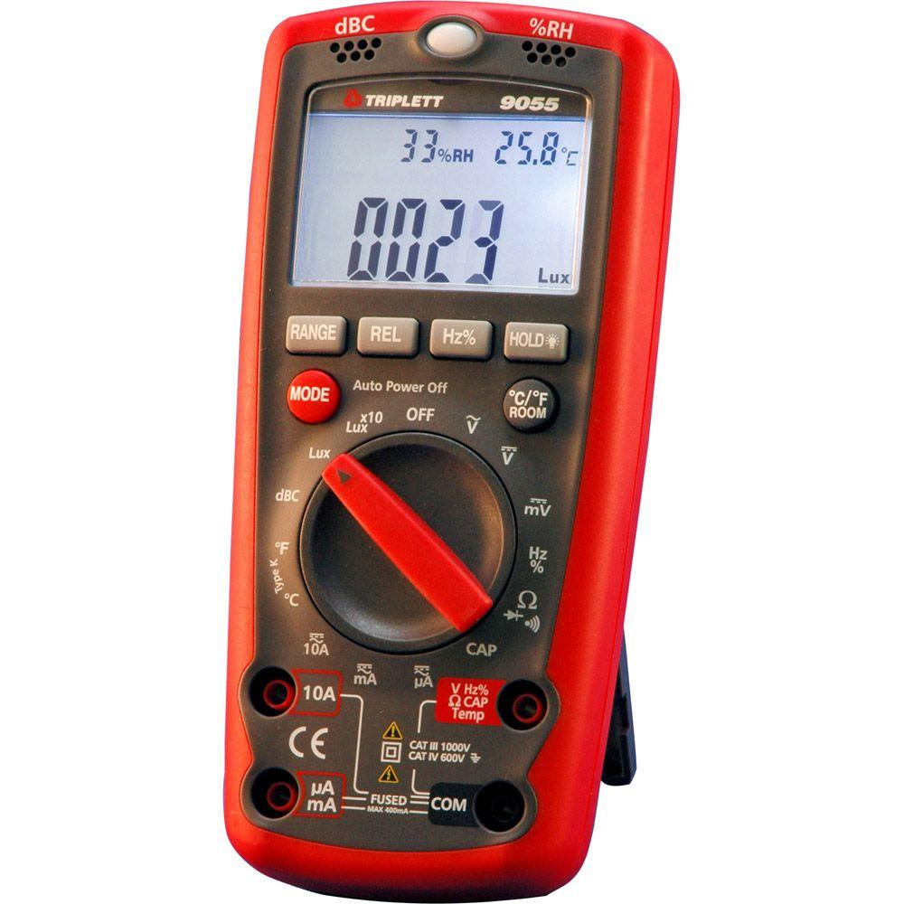 Triplett 6 in. 1 Envirometer with Lux DB Relative Humidity Temperature Capabilty Frequency