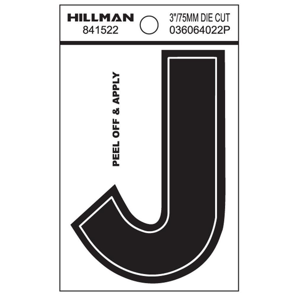 3 in. Black Vinyl Die-Cut Letter J