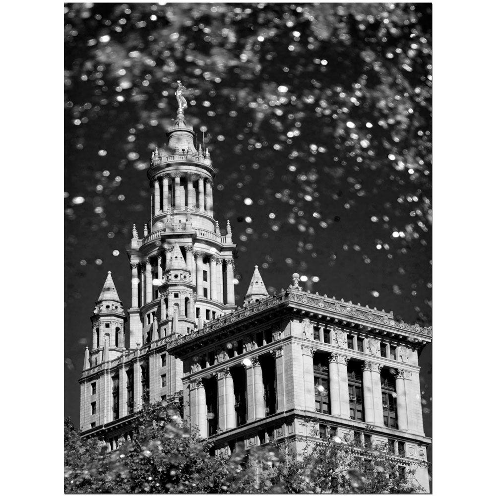 35 in. x 47 in. Waterfall Over City Hall Canvas Art