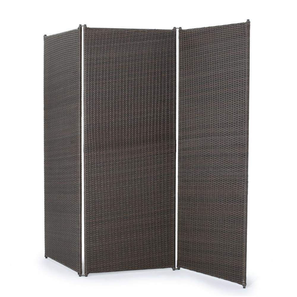 Light Ash Brown Polyethylene Wicker 3-Panel Room Divider with Iron Frame