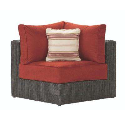 Naples All-Weather Brown Wicker Patio Corner Sectional Chair with Spice Cushions