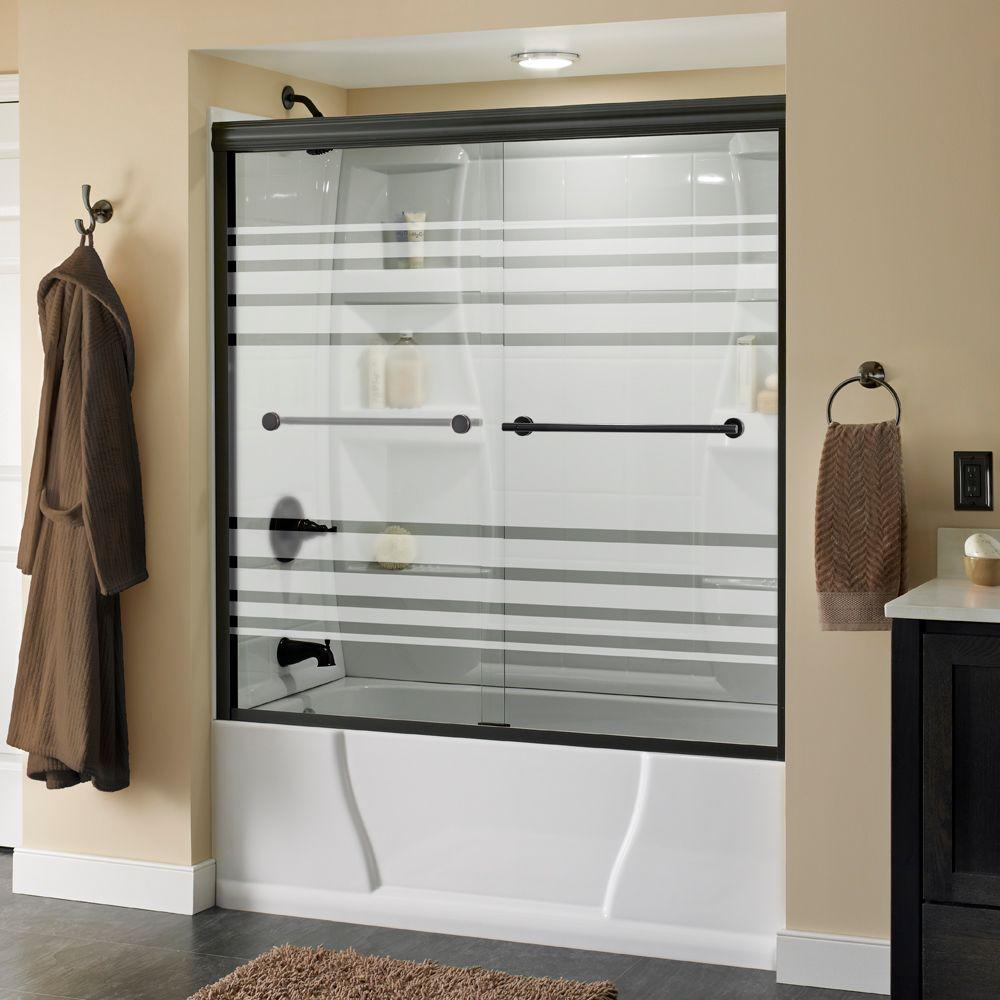 Delta Lyndall 60 in. x 58-1/8 in. Semi-Frameless Sliding Bathtub Door in Bronze with Transition Glass
