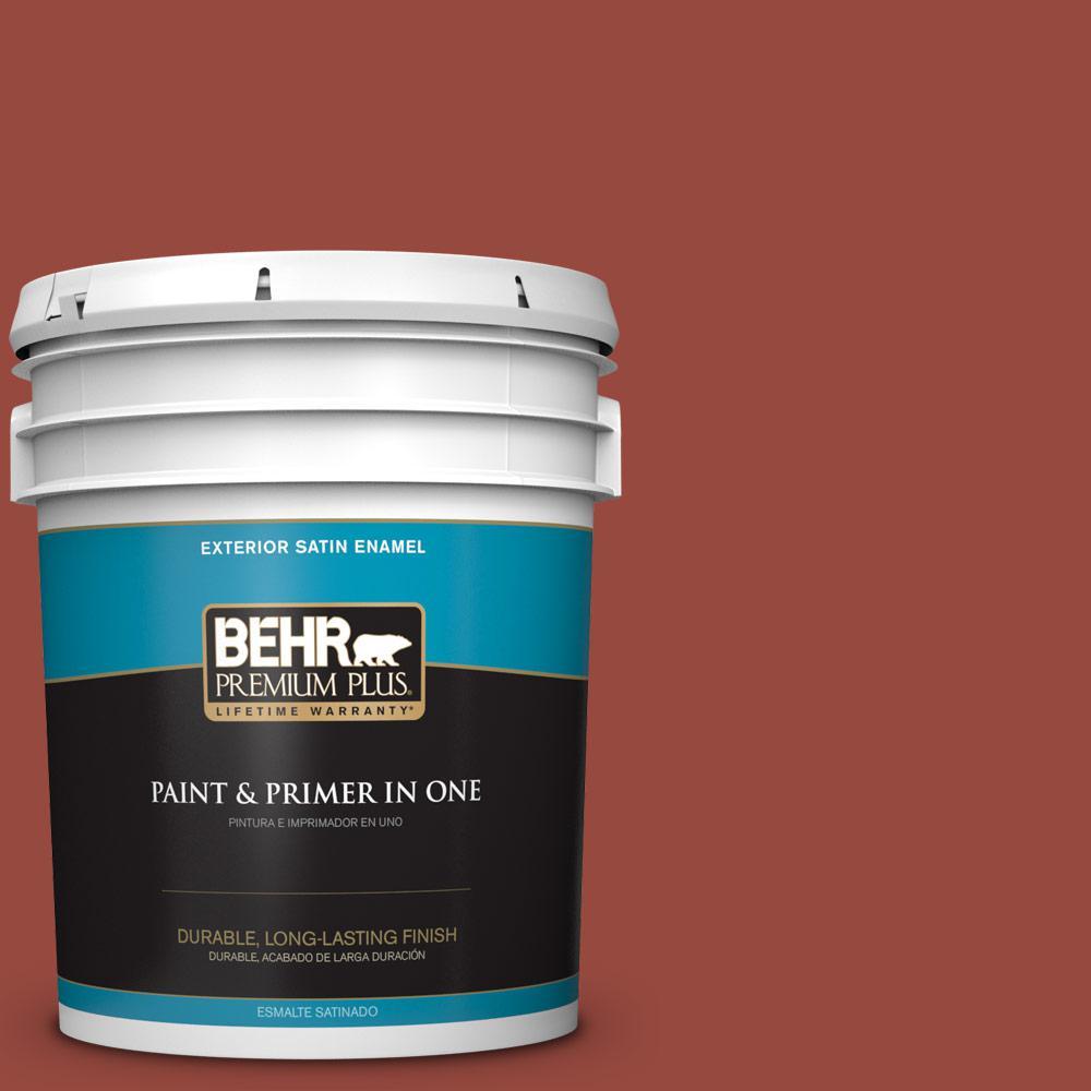 5 gal. #MQ1-24 Smokin Hot Satin Enamel Exterior Paint and Primer