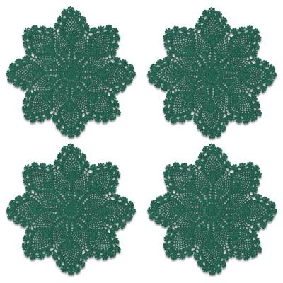 Crochet Envy Pineapple 12 in. Teal Round Doily (Set of 4)