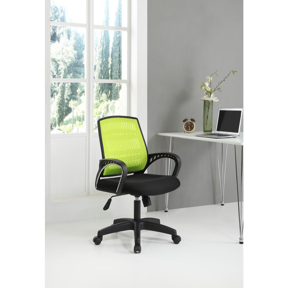 Hodedah Adjustable Mid-Back Swivel Office Chair In Green