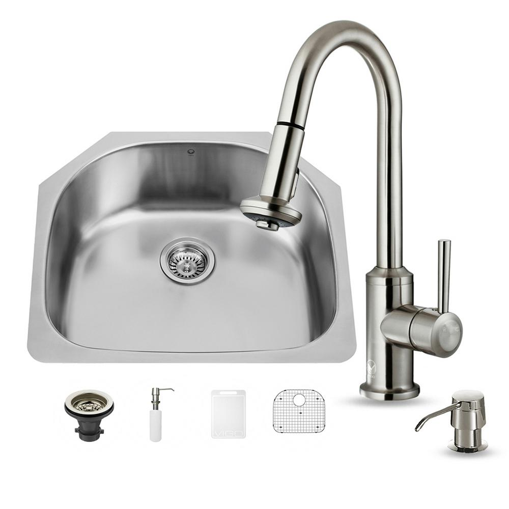 VIGO All-in-One Undermount Stainless Steel 24 in. Single Basin Kitchen Sink in Stainless Steel