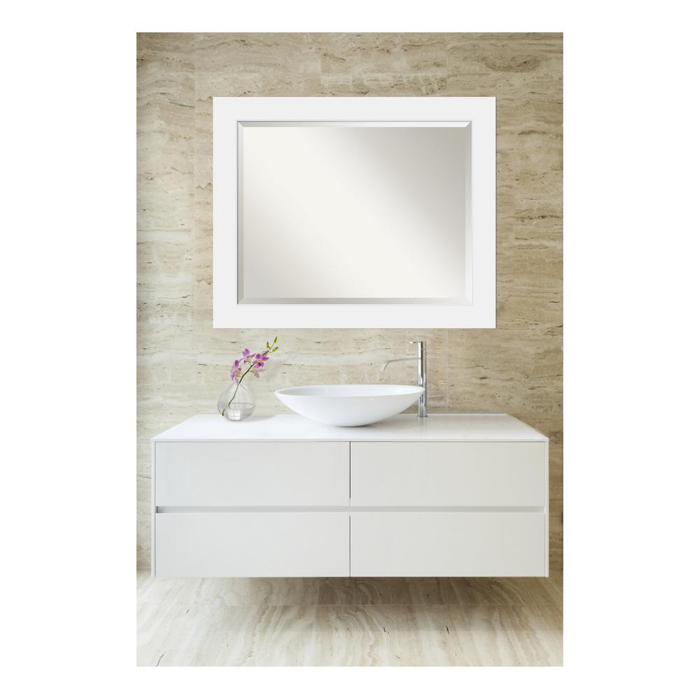 Amanti Art Corvino Satin White Wood 33 in. W x 27 in. H Single ...