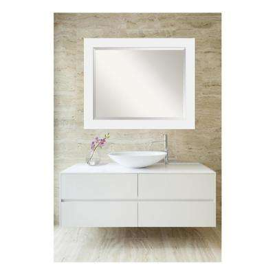 Corvino Satin White Wood 33 in. W x 27 in. H Single Contemporary Bathroom Vanity Mirror