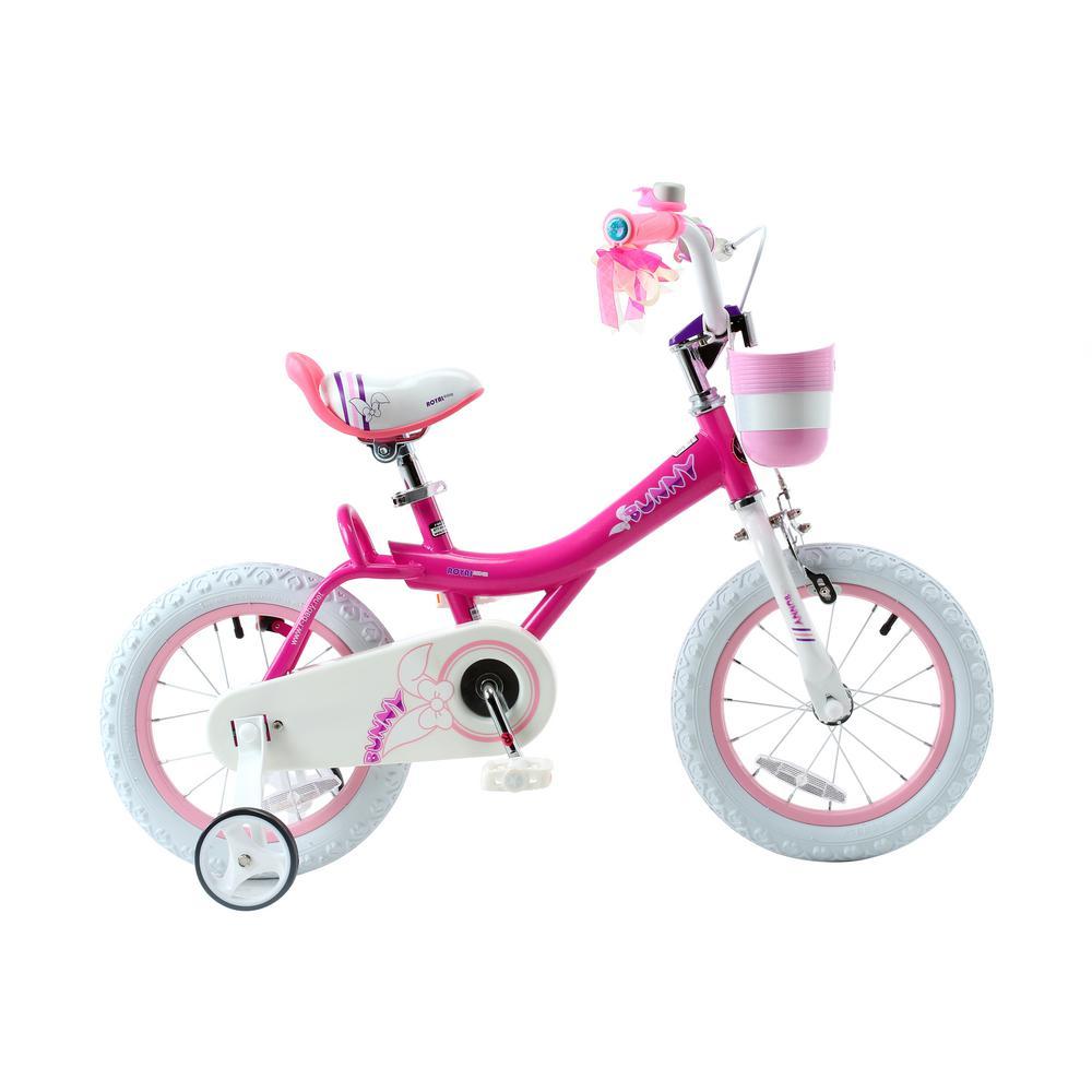 Bunny Girl's Bike, 12 inch wheels w/basket and training wheels training wheels, gifts for kids, girls' bicycles, Fuchsia