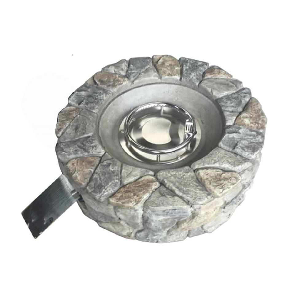 Peaktop 28 in. Outdoor Round Stone Propane Gas Fire Pit