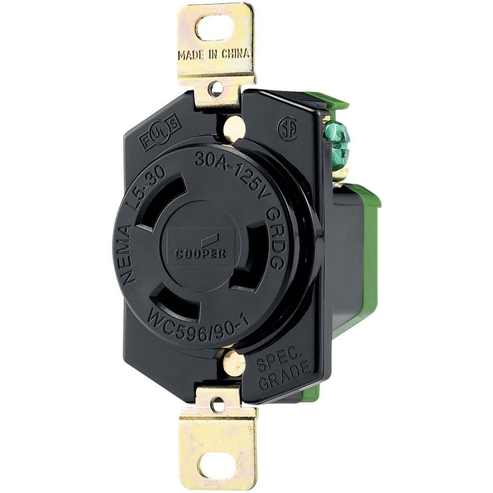 Eaton 30 Amp 125 Volt Hart Lock Industrial Grade Receptacle Black Outlet Wiring Color And White