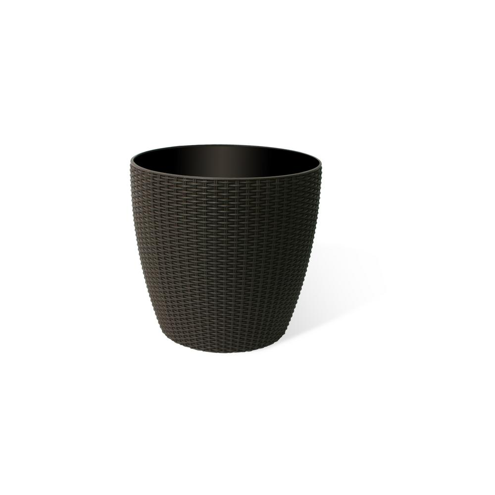 14 in. Coffee Rattan Wicker Round Planter Pot with Watering Tray