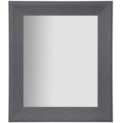 Woodgrain Framed Beveled Rectangular Graywash Decorative Mirror