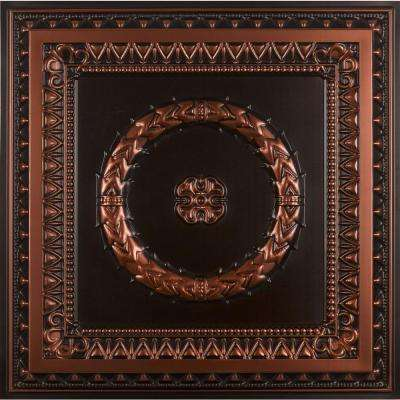 Laurel Wreath 2 ft. x 2 ft. PVC Lay-in or Glue-up Ceiling Panel in Antique Copper (100 sq. ft. / case)