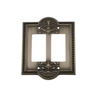 Meadows Switch Plate with Double Rocker in Antique Pewter