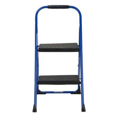 2-Step Steel Big Step Folding Step Stool with Type 3 Rubber Hand Grip in Blue