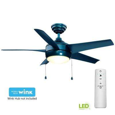 Windward 44 in. LED Blue Smart Ceiling Fan with Light Kit and WINK Remote Control
