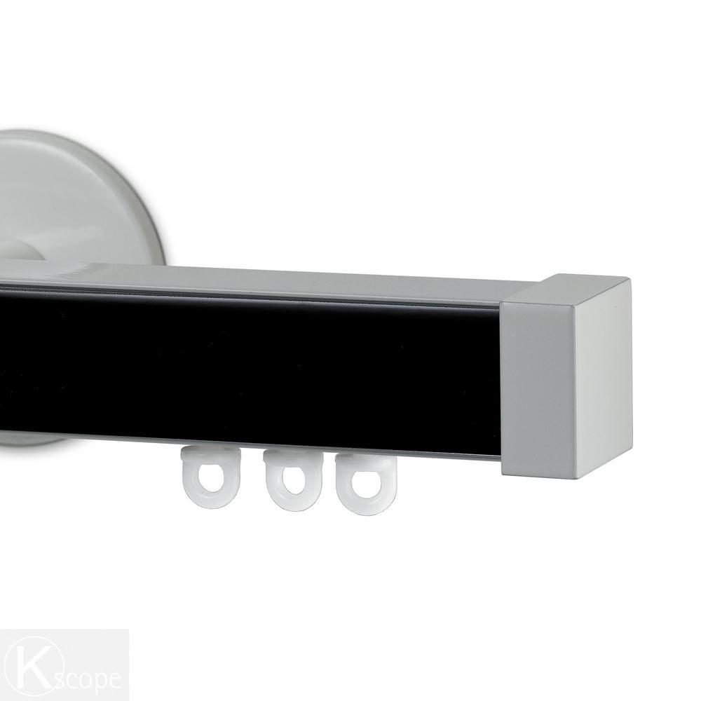 Nexgen 96 in. Non-Adjustable Single Traverse Window Curtain Rod Set with White Endcap in Black Applique