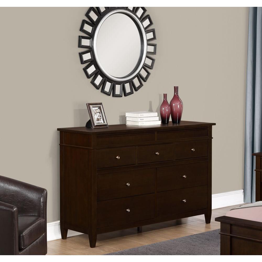 Carlton 9 Drawer Tobacco Brown Dresser
