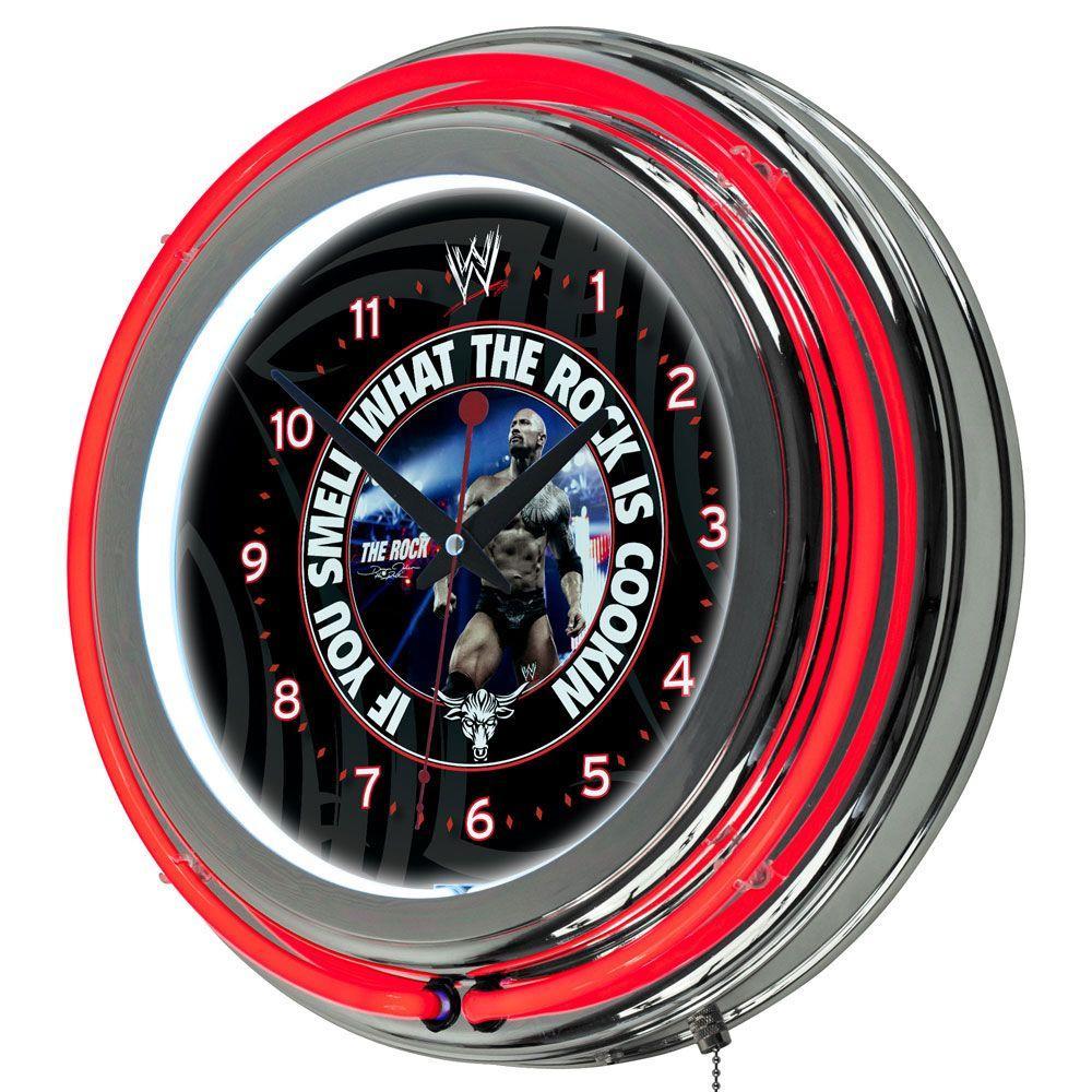 Trademark Global 14 in. WWE Rock Neon Wall Clock
