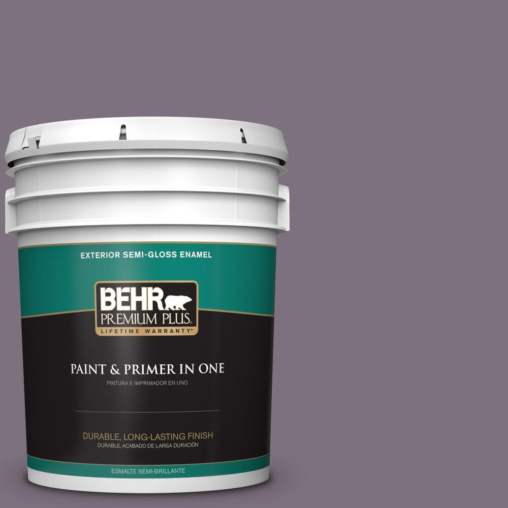 5 gal. #PPU17-17 Plum Shadow Semi-Gloss Enamel Exterior Paint