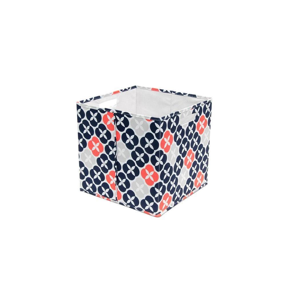 13.3 in. x 13.0 in. x 13.3 in. Decorative Fabric Full Storage Bin in Blossom Button (4-Pack)