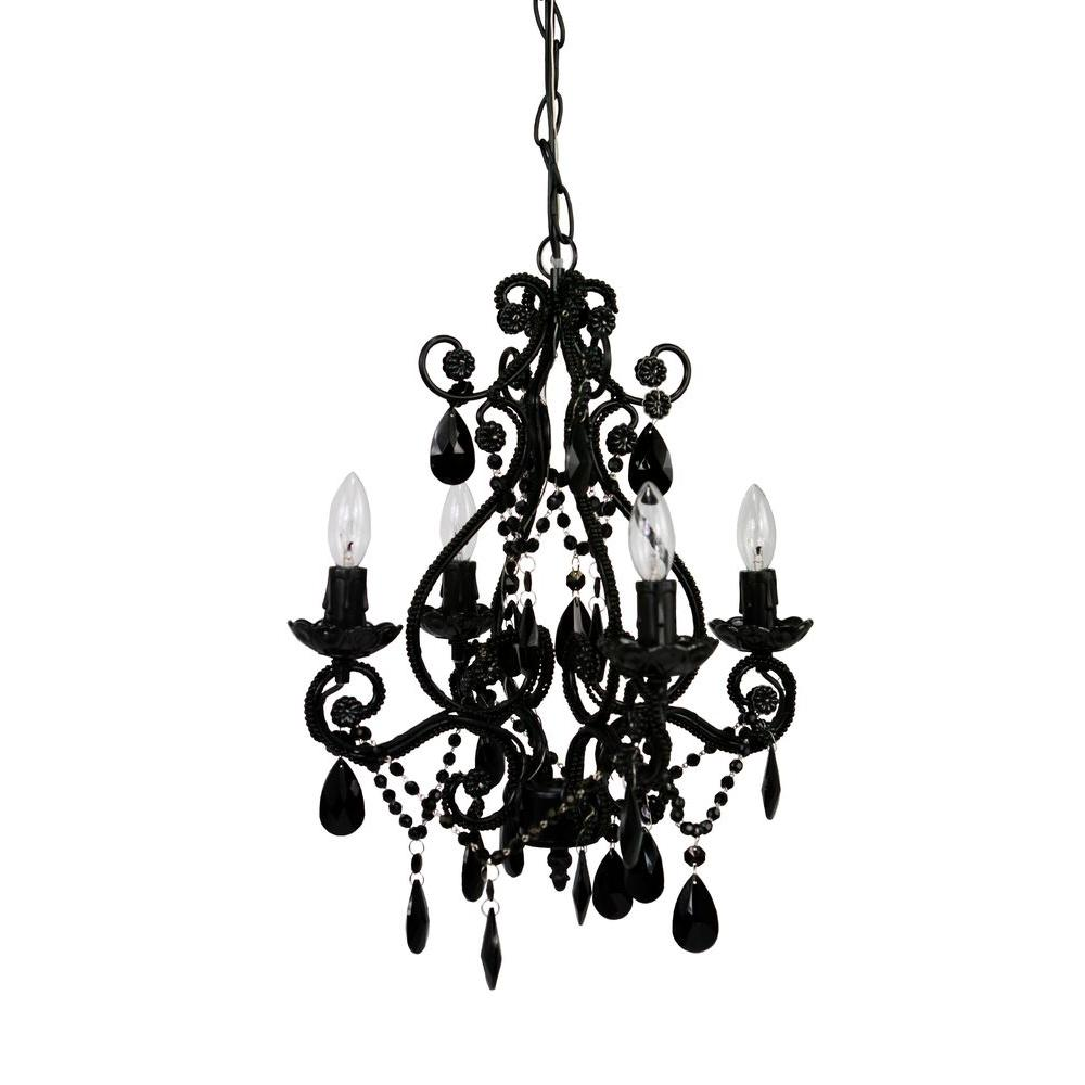 Black plug in chandeliers lighting the home depot 4 light black mini chandelier arubaitofo Image collections