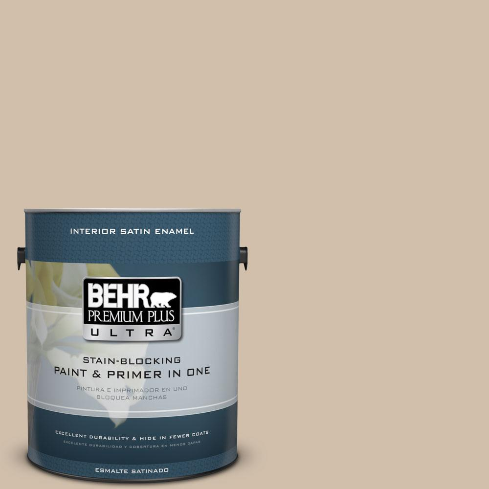 BEHR Premium Plus Ultra 1-gal. #PPF-32 Light Rattan Satin Enamel Interior Paint
