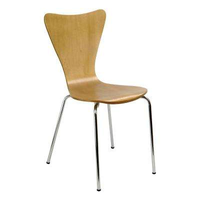 Bent Plywood Natural Wood Stack Chair with Chrome Plated Metal Legs