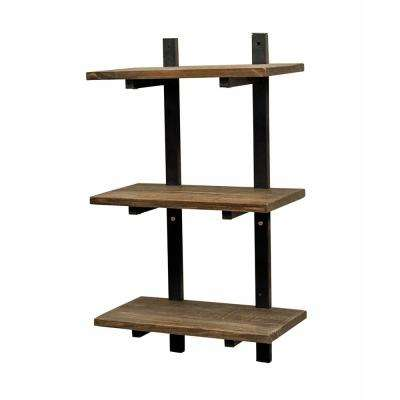 "Pomona 10"" D x 20"" W x 36"" H Natural Metal and Solid Wood Wall Shelf"