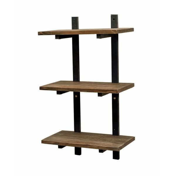 "Alaterre Furniture Pomona 10"" D x 20"" W x 36"" H Natural Metal and Solid Wood Wall Shelf"