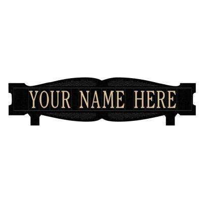 Rectangular 2-Sided 1-Line Mailbox Sign without Ornament Standard in Black/Gold