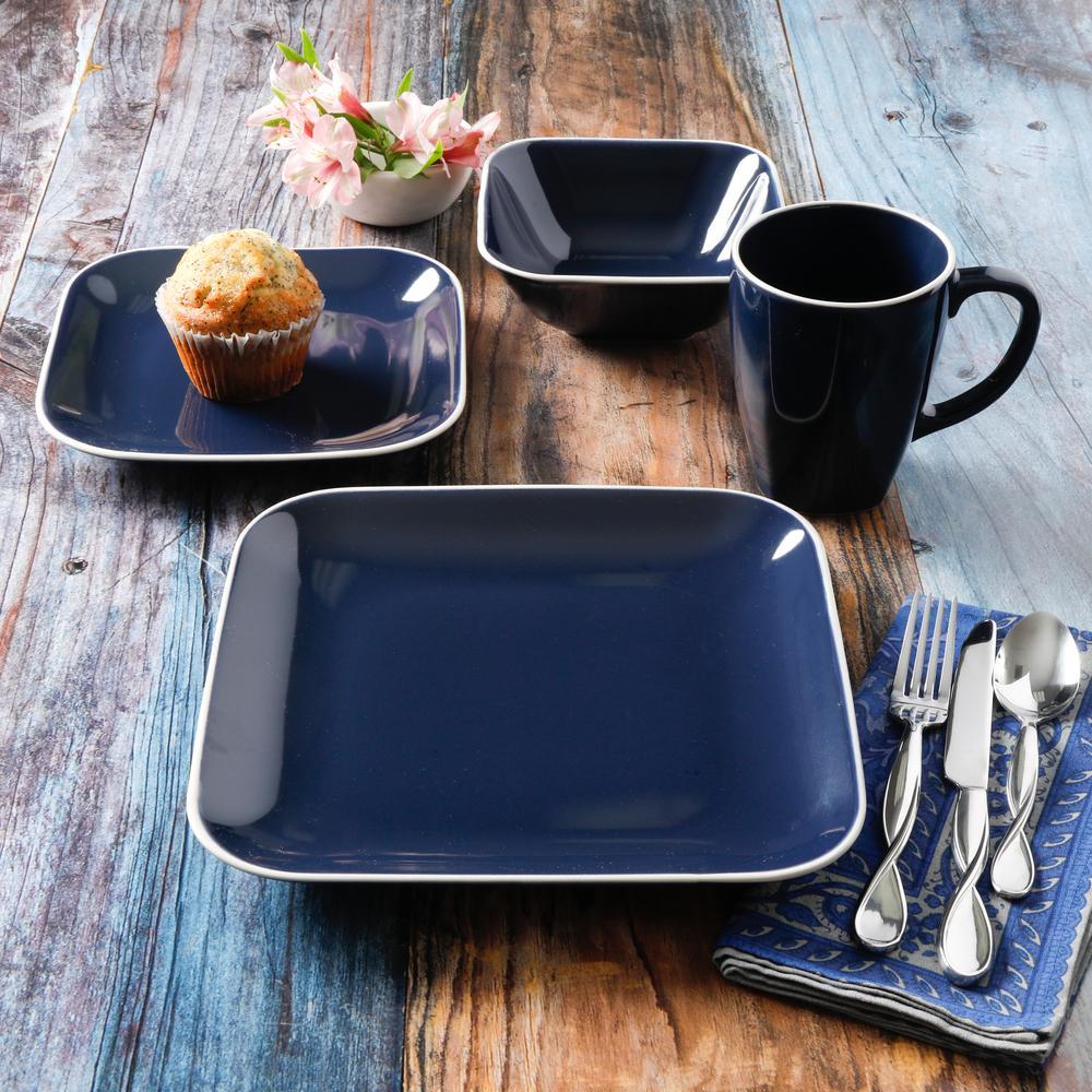 Square Dance 16-Piece Cobalt Square Dinnerware Set