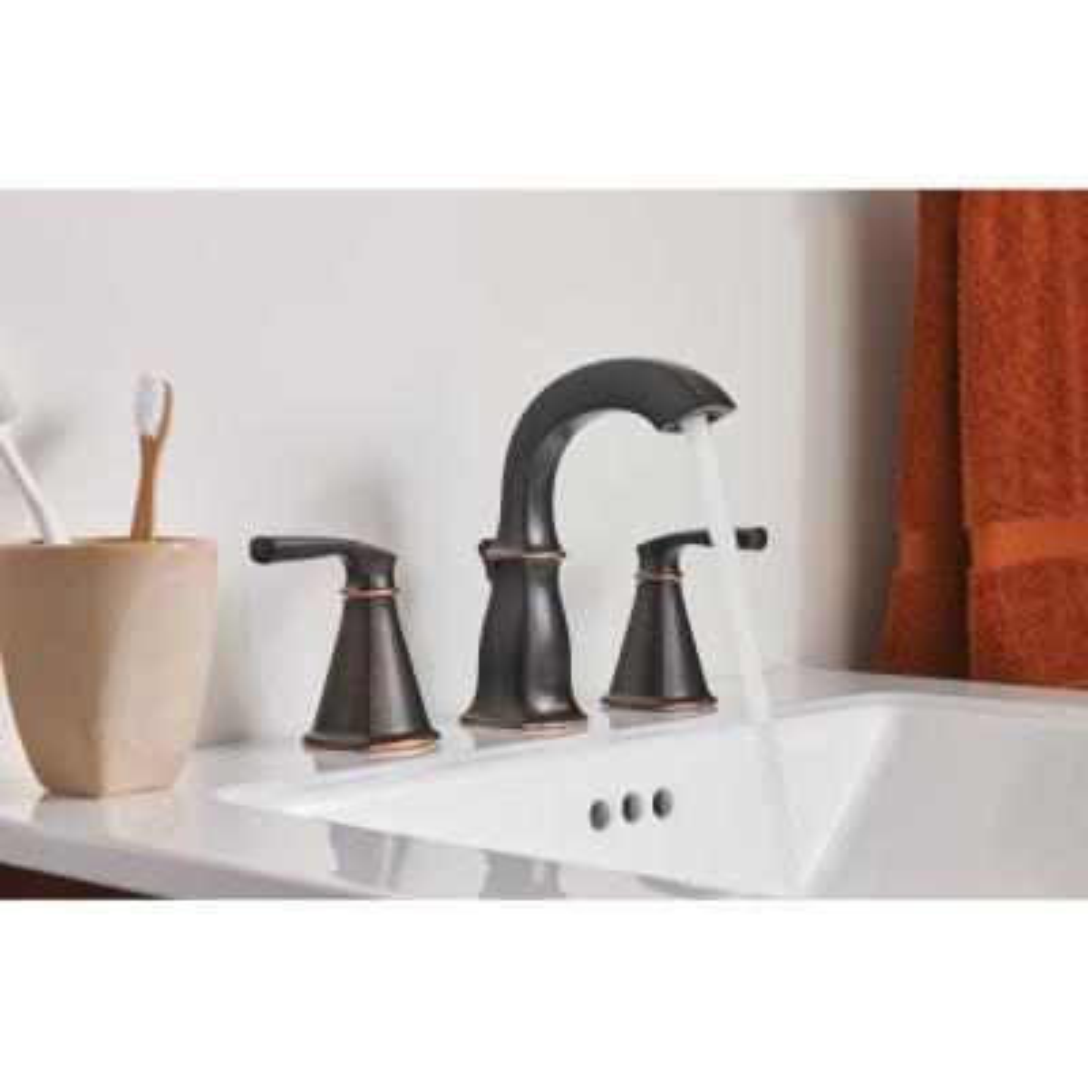 Hensley 8 in. Widespread 2-Handle Bath Faucet with 4-Piece Hardware Set in Mediterranean Bronze (18 in. Towel Bar)