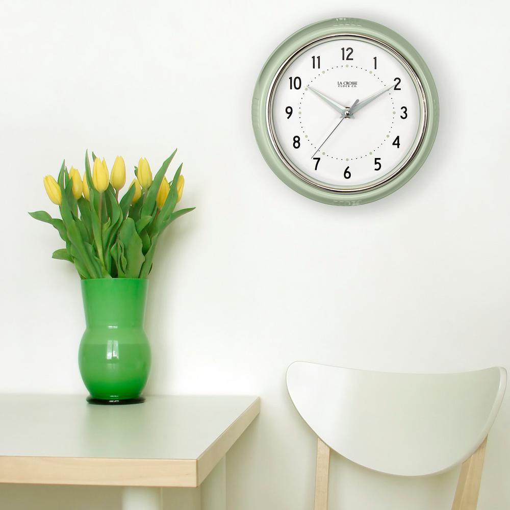 9.5 in. Round Pistachio Green Retro Diner Analog Wall Clock