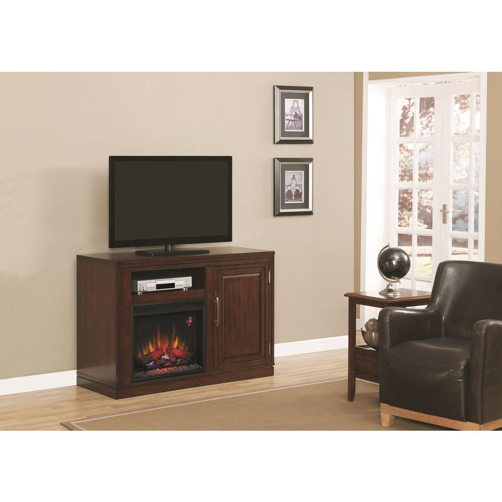Chimney Free Salton 51 in. Triple Function Media Console Electric Fireplace in Empire Cherry