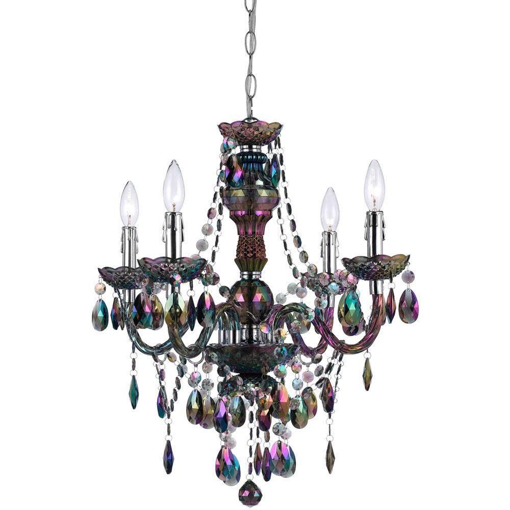 Mini chandeliers lighting the home depot naples 4 light metallic mini chandelier with iridescent smoke plastic bead accents mozeypictures Gallery