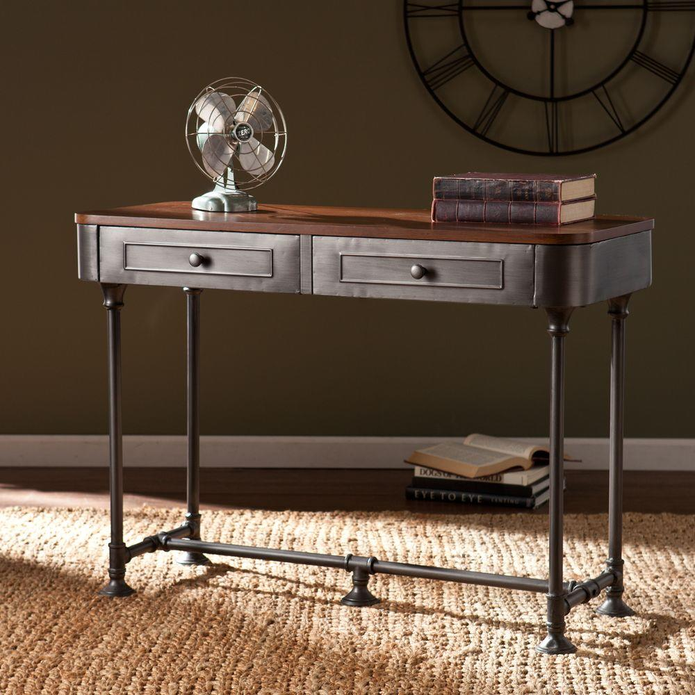 Southern Enterprises Cora Dark Tobacco and Industrial Gray Storage Console Table