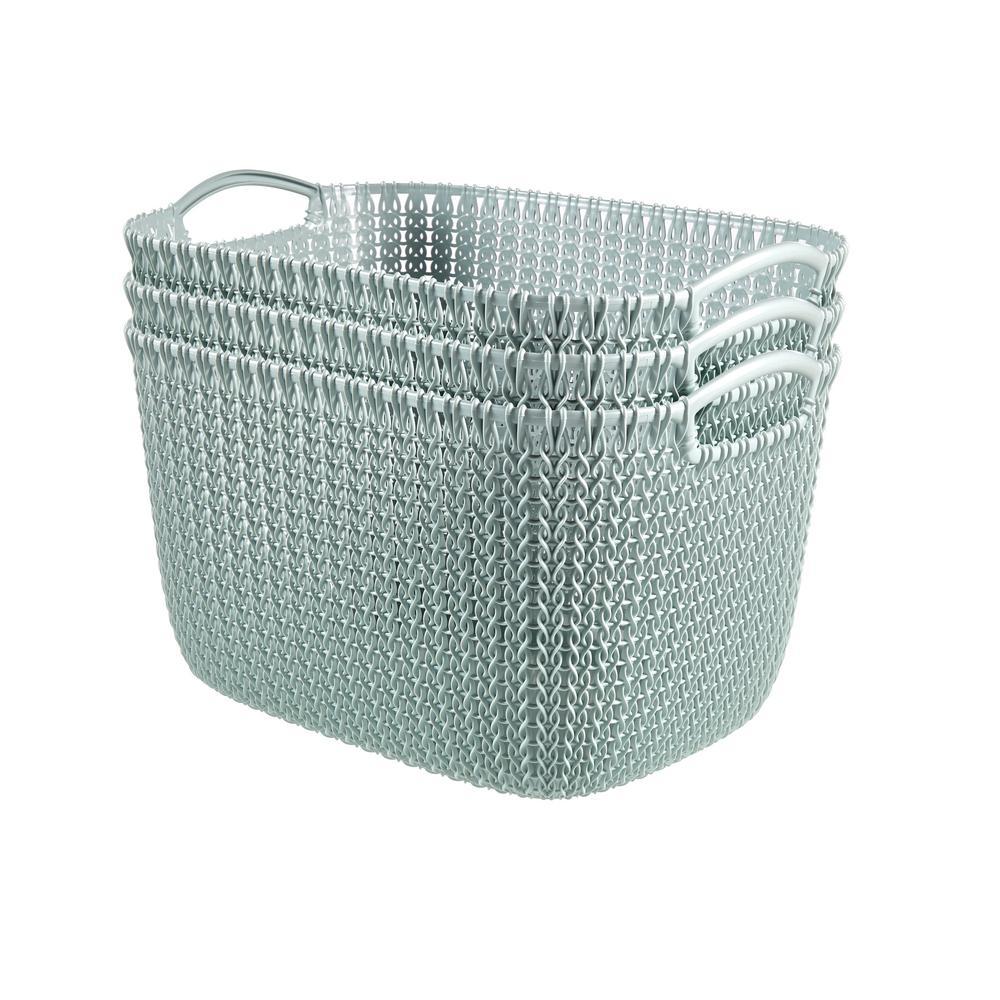 Genial Curver 20 Qt. Knit Rectangular Resin Large Storage Basket Set In Misty Blue  (3