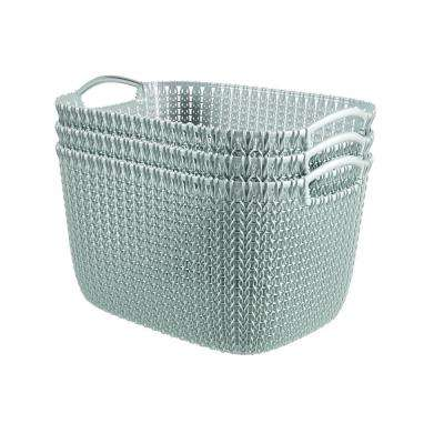 20 Qt. Knit Rectangular Resin Large Storage Basket Set in Misty Blue (3-Piece)